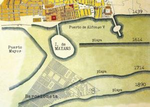 Położenie wyspy Maians. (http://totselsnomsdebarcelona.blogspot.com.es)